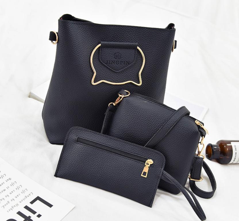 Женская сумка большая с ручками в наборе клатч и кошелек Cat Черный