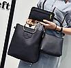 Женская сумка большая с ручками в наборе клатч и кошелек Cat Черный, фото 2