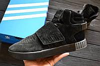 Зимние мужские кроссовки Adidas Tubular Black. Живое фото (Реплика ААА+)