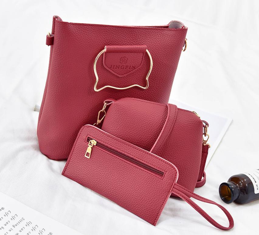 Женская сумка большая с ручками в наборе клатч и кошелек Cat  Красный