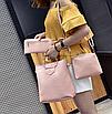 Женская сумка большая с ручками в наборе клатч и кошелек Cat Розовый, фото 2