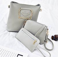 Женская сумка большая с ручками в наборе клатч и кошелек Cat Серый, фото 1