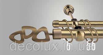 Карниз для штор двухрядный металлический 25 мм, Лилет