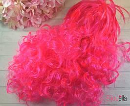 Яскраво-рожевий хвилястий перуку 50 см на Новий Рік, свято, карнавал, маскарад