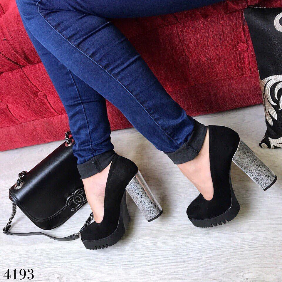 Туфли супер колодка серебро каблук.ЗАМШ 39 и 40 размеры