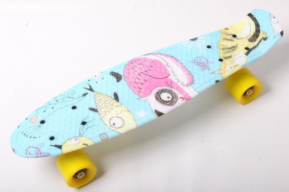 """Пенни Борд Penny Board Принт 22"""" - Cool Cat 54 см"""