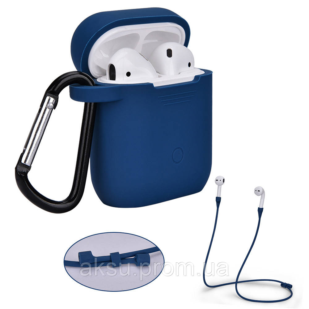 Чехол для AirPods silicone case logo Blue с карабином