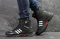 Кроссовки мужские Adidas Climaproof с мехом, зимние высокие,  черно белые ( Реплика)