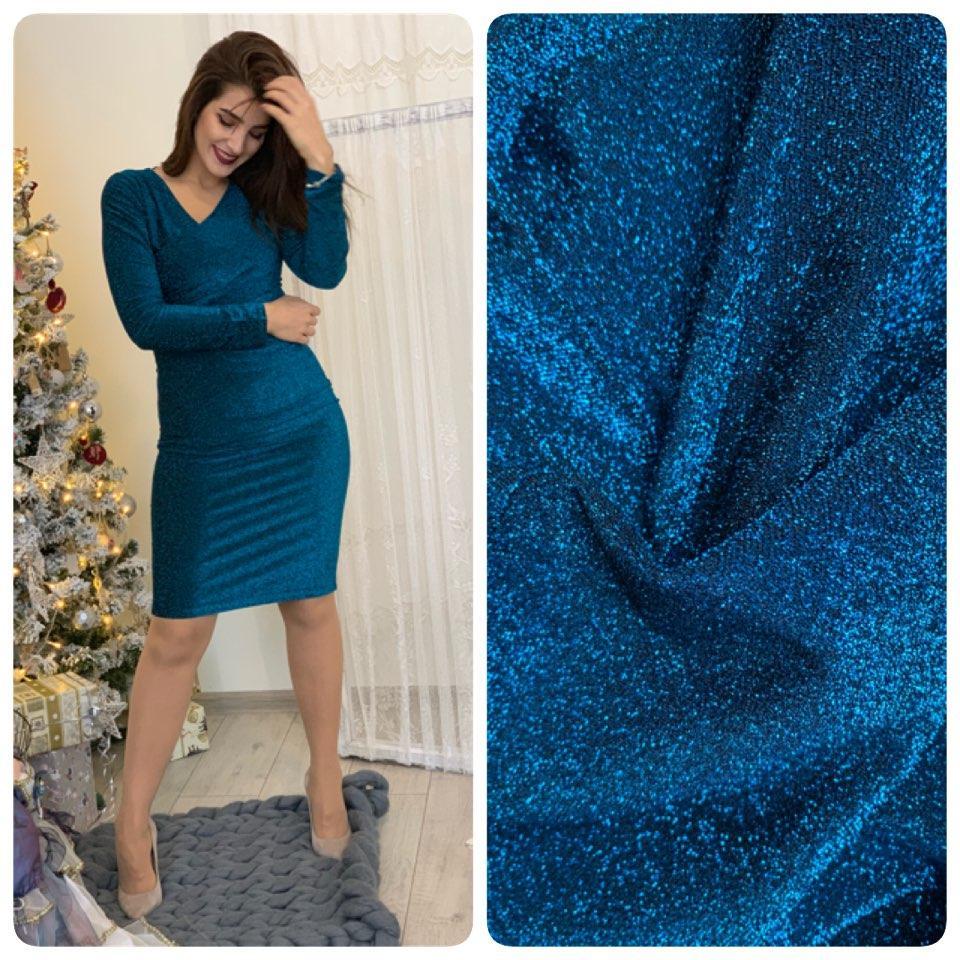 6a6fecc35256 Новинка! Платье арт (М322), ткань люрекс на дайвинге, цвет аквамарин ...