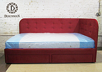 Детская односпальная кровать с мягкими боковинамии с выдвижнымиящиками под заказ