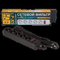 Сетевой фильтр удлинитель с заземлением и защитой 5 розеток Logicpower LP-X5 4.5m 220В, фото 1