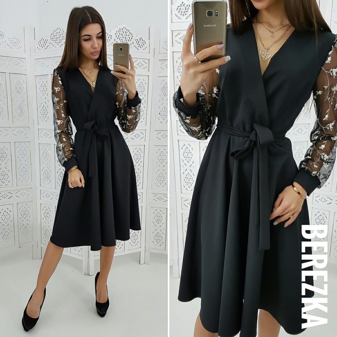 86e7adefc46 Эффектное женское платье (креп костюмка