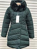 Зимова жіноча куртка стойка без капюшона