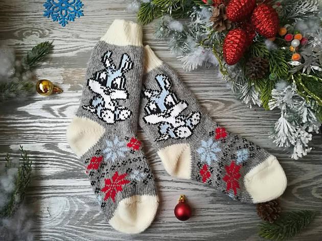 Носки из овечьей шерсти Зайчики на сером с белым манжетом и белым носком, р. 37-40, фото 2