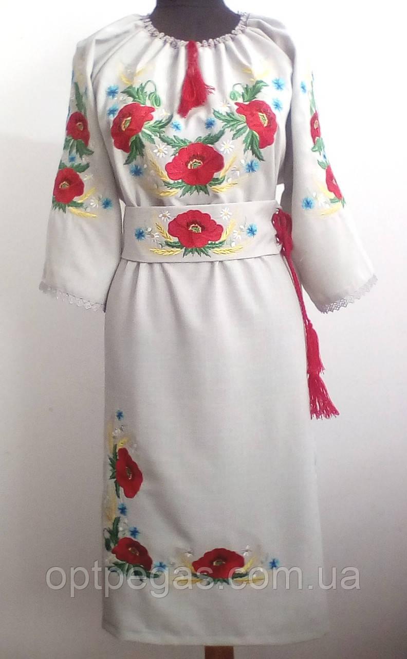 086d3bd6b94d31 Вишите жіноче плаття льон-габардин з маками - Інтернет-магазин ОптПегас в  Луцке