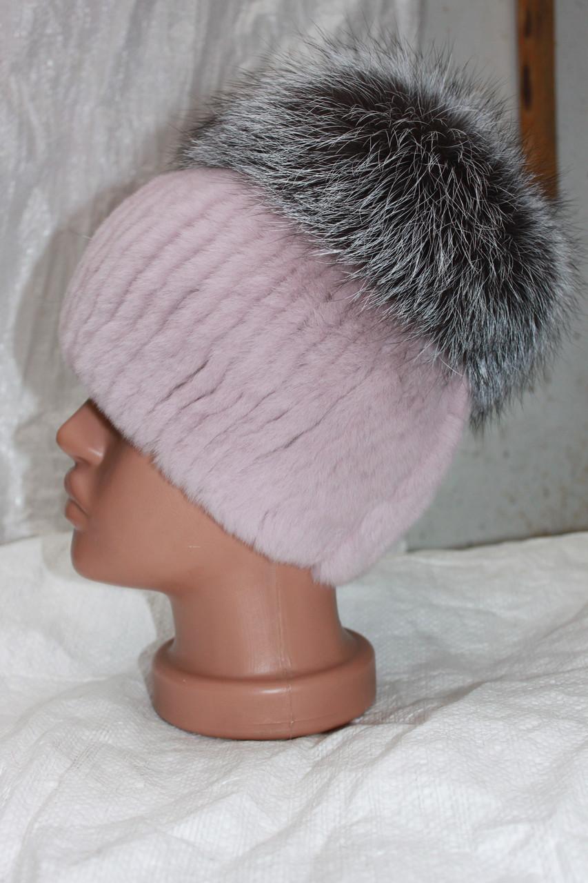 Женская меховая шапка кролик Рекс+мех чернобурка на трикотажной основе, от производителя, кубанка