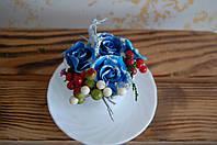 Декор чашка с цветами синими