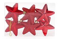 Набор елочных украшений Звезды 7.5см, цвет - красный, 6 шт: глянец, мат, глитер - по 2 шт BonaDi 147-479
