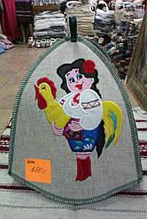 Жіноча шапка для сауни із льону  вишивка