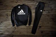 Мужской спортивный костюм Зимний с флисом черный adidas №3 Реплика