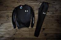Мужской спортивный костюм зимний с флисом черный в стиле Under Armour