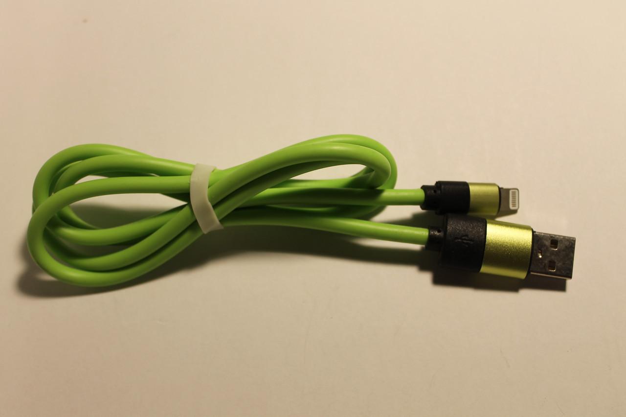 Кабель USB Lightning K-12 плотный салатовый