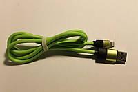 Кабель USB Lightning K-12 плотный салатовый, фото 1