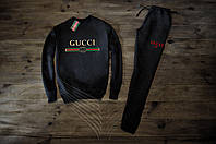 Мужской спортивный костюм Зимний с флисом черный в стиле Gucci