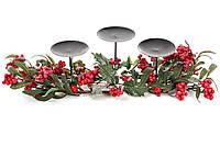 """Подсвечник """"Christmas""""на три свечи с декором из зеленых веток и красных ягод, 60см"""