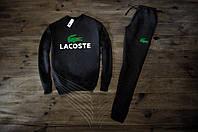 Мужской спортивный костюм зимний с флисом в стиле Lacoste черный