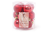 Набор елочных шаров 4см, цвет - красный, 12шт: глянец и мат - по 6 шт BonaDi 147-471