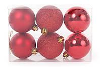 Набор елочных шаров 6см, цвет - красный, 6 шт: глитер, мат и глянец - по 2 шт BonaDi 147-473