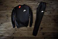 Мужской спортивный костюм Зимний с флисом черный Nike 3 Реплика