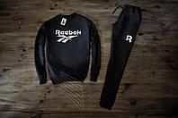 Мужской спортивный костюм Зимний с флисом черный в стиле Reebok