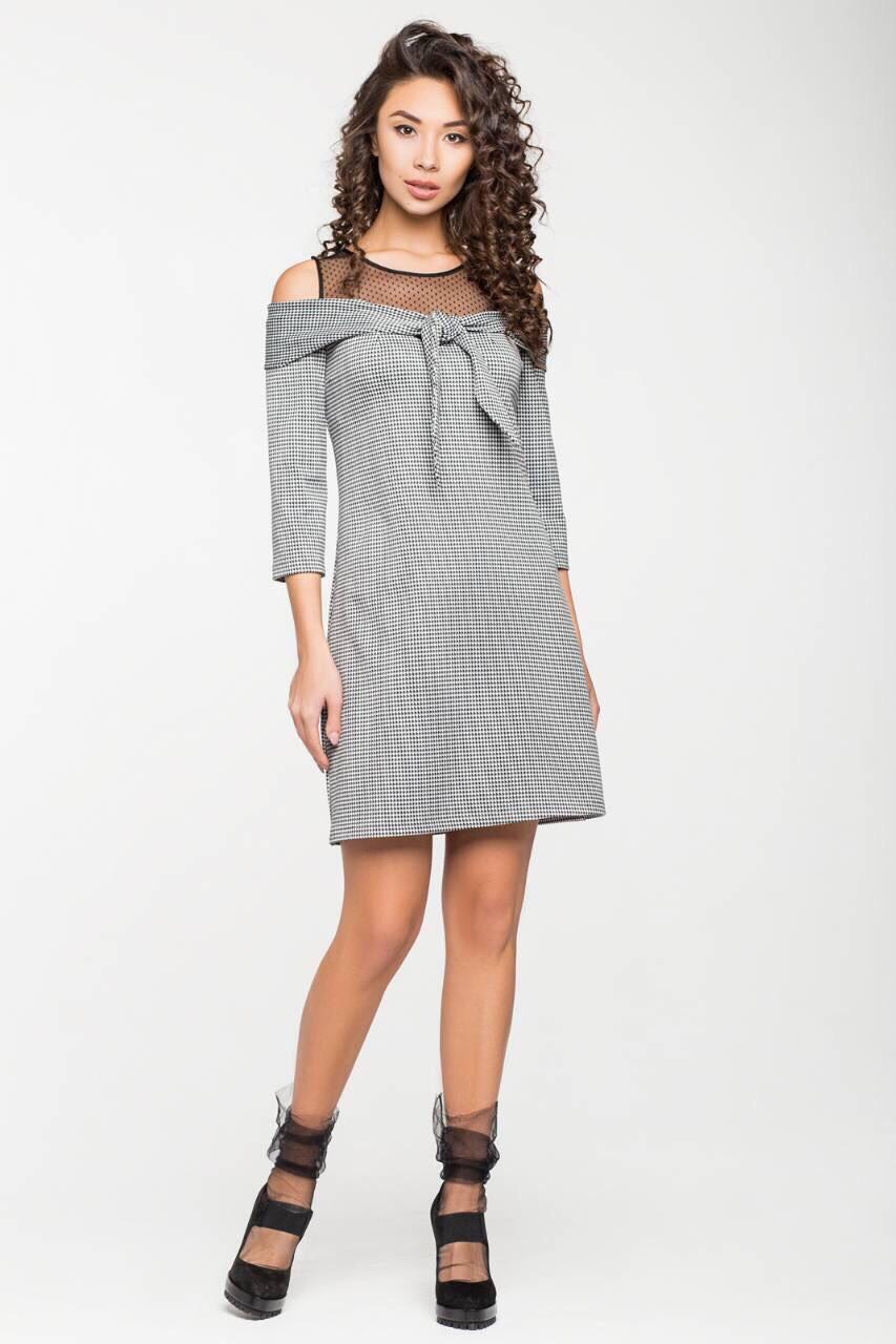946545ca215 Серое платье со спущенными плечами - Интернет-магазин
