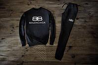 Мужской спортивный костюм Зимний с флисом черный в стиле Balenciaga
