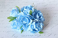 Декоративные цветы розы (эустомы) диаметр 4,5-5,5 см голубого цвета, фото 1