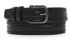 Кожаный прочный подростковый ремень3см (103130) черный