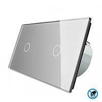 Бесконтактный выключатель Livolo 1-1, цвет серый, материал стекло (VL-C701/C701PRO-15), фото 1