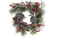 Новогодний венок с декором из ягод, шишиек и бубенцов, 50см BonaDi 734-514