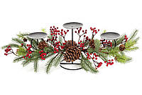 Новогодний подсвечник на три свечи с декором из хвои, шишек и красных ягод, 71см BonaDi 758-340