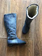 Сапоги зимние джинсовые на набивной овчине, фото 1