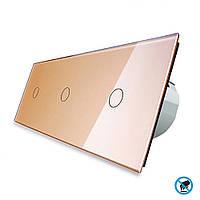 Бесконтактный выключатель Livolo 3 канала (1-1-1) золото стекло (VL-C701/C701/C701-PRO-13), фото 1