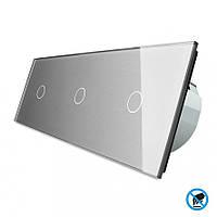Бесконтактный выключатель Livolo 3 канала (1-1-1) серый стекло (VL-C701/C701/C701-PRO-15)