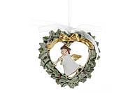 Подвесной декор Ангел в венке, 14см, цвет - белый с золотом BonaDi 890-109