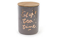 Банка фарфоровая с бамбуковой крышкой Tea time, цвет - серый с золотом BonaDi 945-124