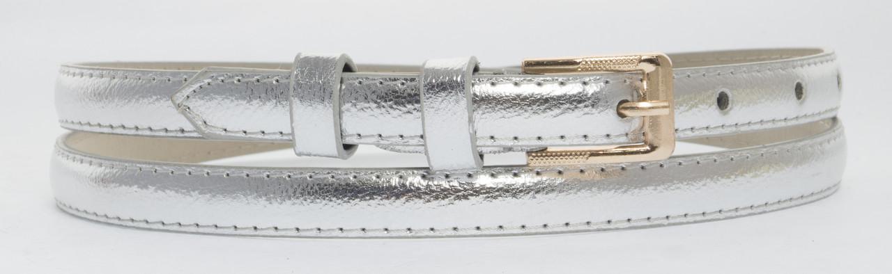 Женский тонкий ремешок с искусственной кожи высокого качества 1,5 см(103693) серебристый