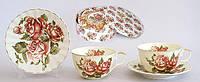 Чайный набор 12 предметов: 6 чашек фарфоровых 250мл с блюдцами Корейская роза BonaDi XX843