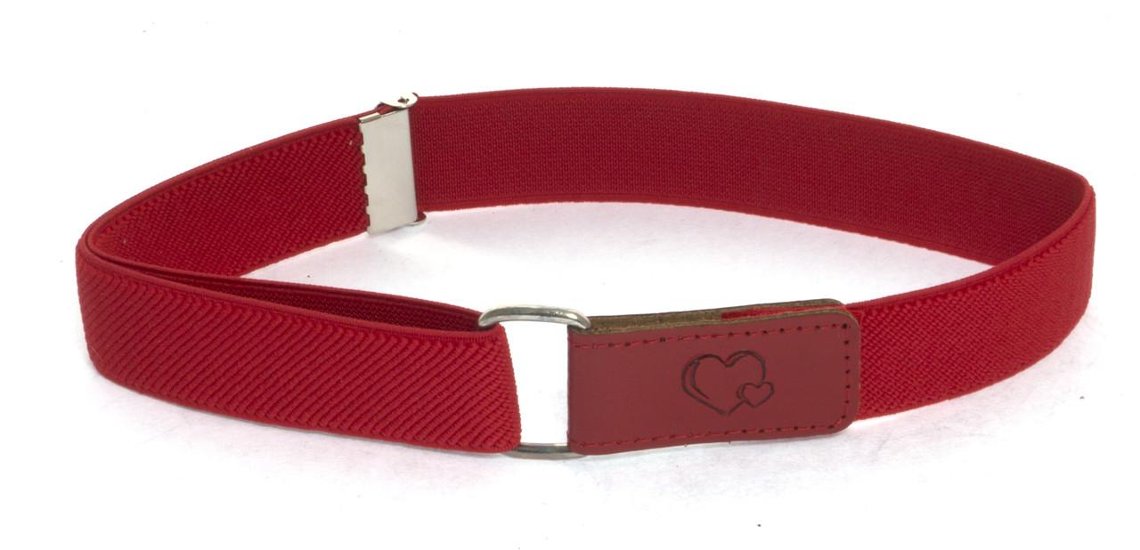 Детский ремень резинка на липучке высокого качества с регулируемой длиной (103685) красный