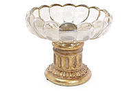 Конфетница 20см со стеклянной вставкой, цвет - золото антик BonaDi 434-107